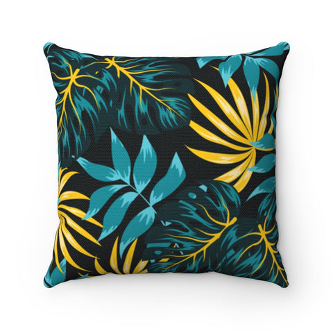 Dark Floral Green Throw Pillow