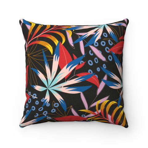 Dark Floral Fusion Throw Pillow