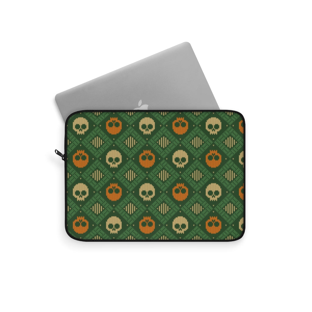 Knitted Orange Green Skulls Laptop Sleeve