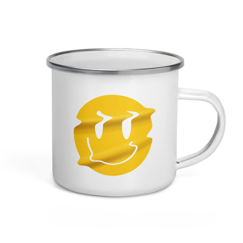 Distorted Smiley Enamel Mug