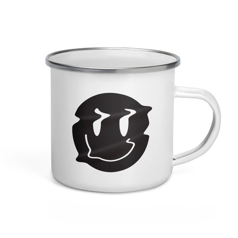 Distorted Smiley (Black) Enamel Mug