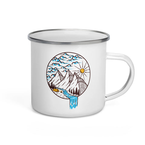 A River Runs Through It Enamel Mug
