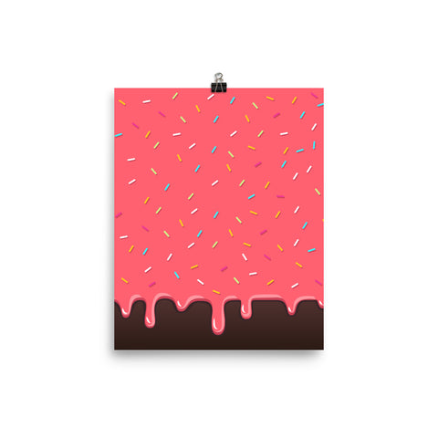 Pink Chocolate Waffle With Sprinkles Poster