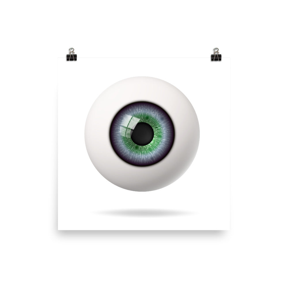 Realistic Blue Green Eyeball Poster