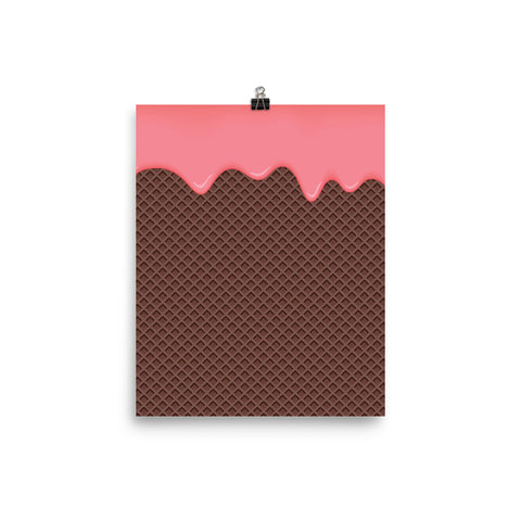 Pink Cream Chocolate Waffle Poster
