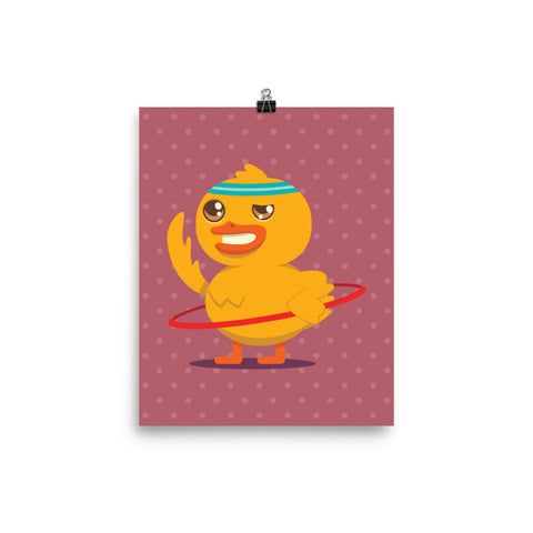 Hula Hooping Duck Poster