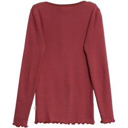 Wheat - Rib T-Shirt Lace LS, burgundy