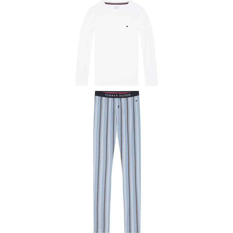 Tommy Hilfiger - LS PANT SET WOVEN PRINT, White/Moon Blue