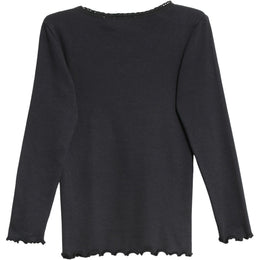 Wheat - Rib T-Shirt Lace LS, midnight blue