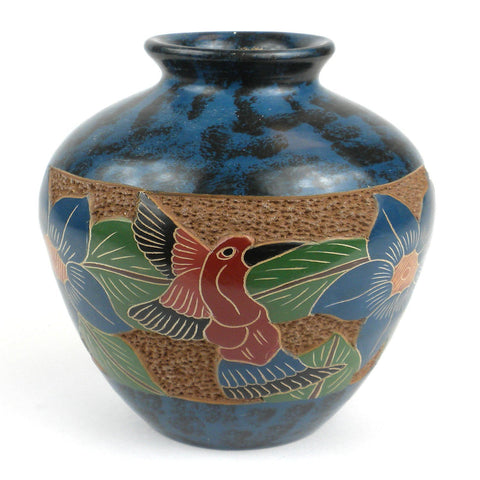 5 inch Tall Vase - Bird Flower Handmade and Fair Trade