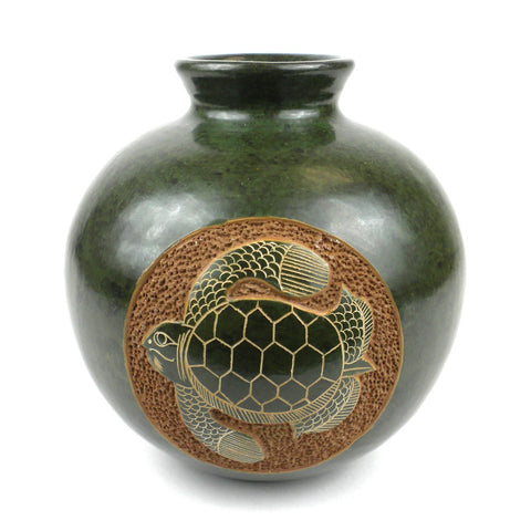 6 inch Tall Vase - Turtle Handmade and Fair Trade