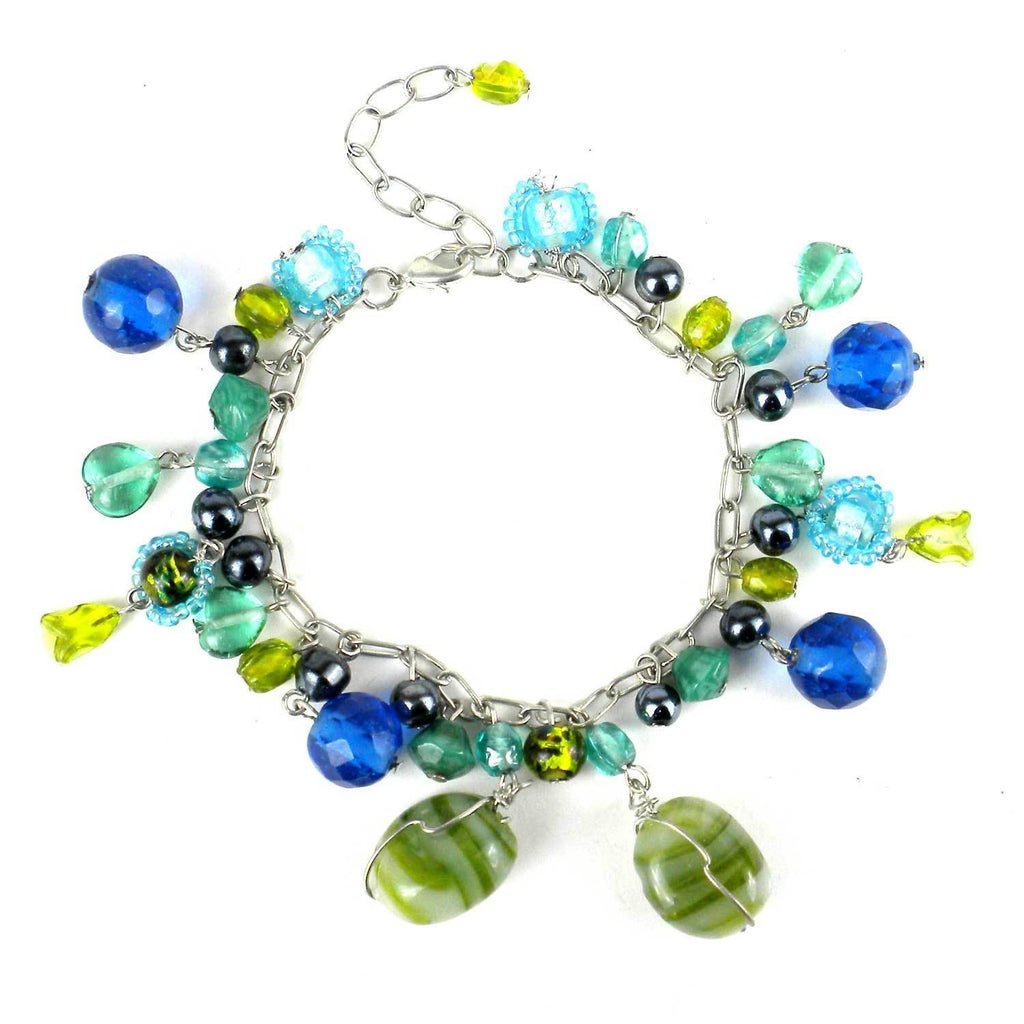Green/Blue Multi-bead Bracelet - WorldFinds
