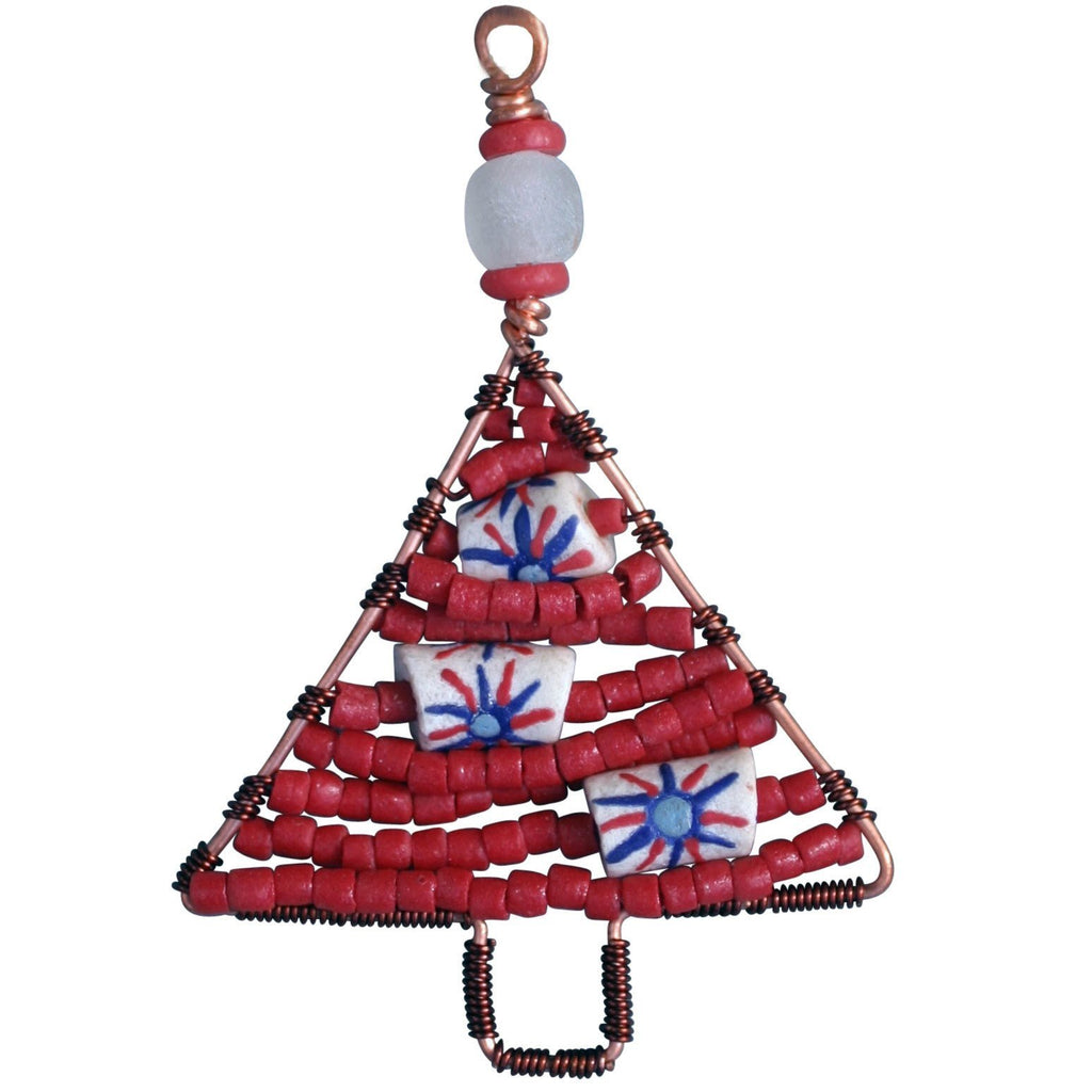 Beaded Tree Ornament Red - Global Mamas (H)
