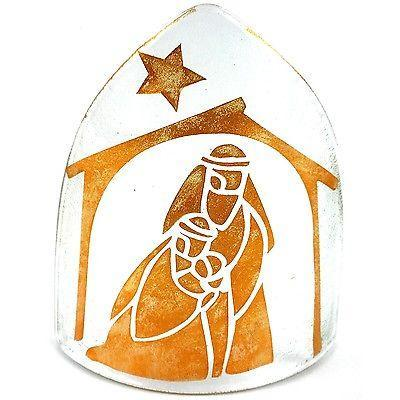 Handmade Copper Artisan Glass Nativity Candle Cover -