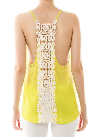 Womens Crochet Back Chiffon Sleeveless Top
