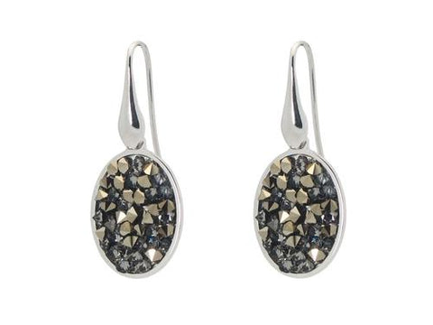 Sterling Silver CZ Druzy Hook Earrings