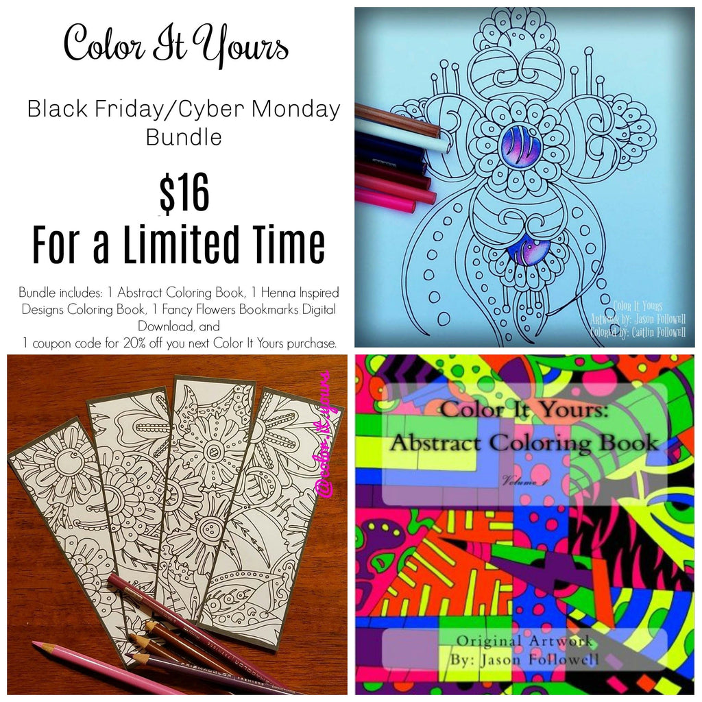 Black Friday/Cyber Monday Henna Inspired Designs Coloring Book Bundle