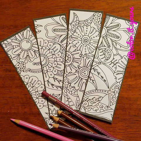 DIGITAL DOWNLOAD Color It Yours: Fancy Flowers Bookmarks (Design #FF-32)