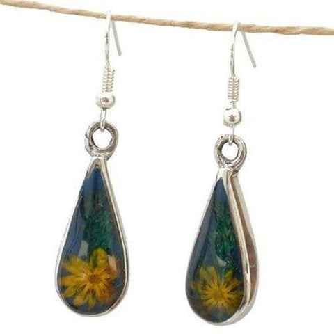 Yellow Flower Drop Earrings Handmade and Fair Trade