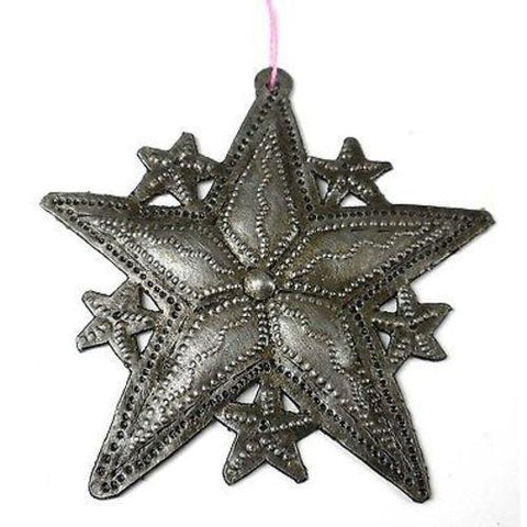 Stars Design Steel Drum Ornament Handmade and Fair Trade