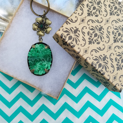 Faux Jade Floral Keychain