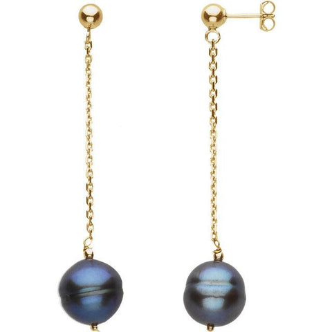 Freshwater Cultured Black Pearl Earrings