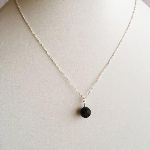 Lava Bead Minimalist Sterling Silver Necklace