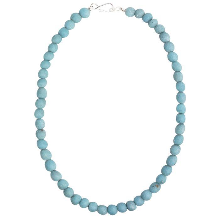 Global Mamas Glass Pearls Necklace - Light Blue - Global Mamas