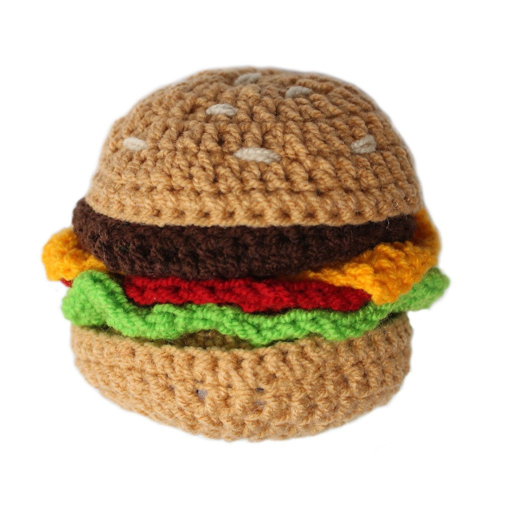 Knit Rattle Hamburger - Silk Road Bazaar