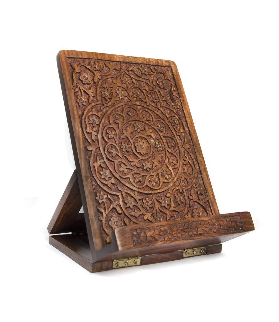 Carved Rosewood Tablet and Book Easel - Matr Boomie (B)
