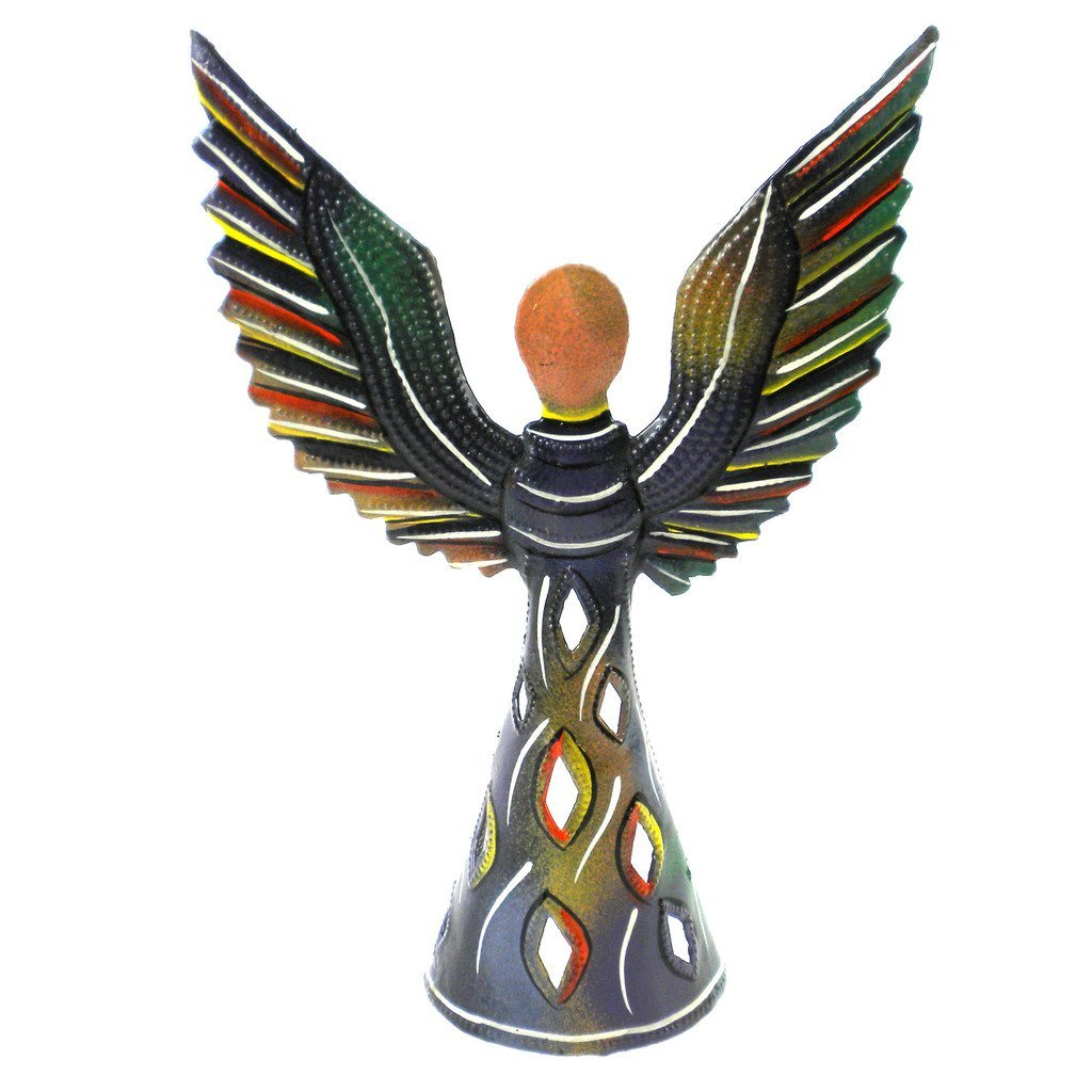 Hand Painted 9 Inch Standing Metal Angel - Croix des Bouquets (H)