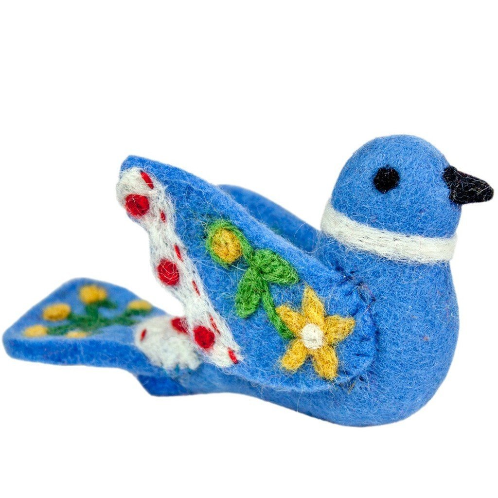 Alpine Love Bird Felt Ornament - Blue - Wild Woolies (H)