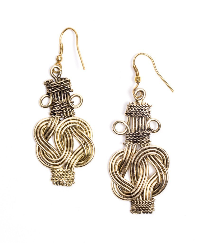 Buddha Knot Earrings- Gold - Matr Boomie (Jewelry)