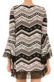 Chevron Print Lace Trim Shift Dress