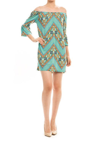 Chevron Print Off Shoulder Shift Dress