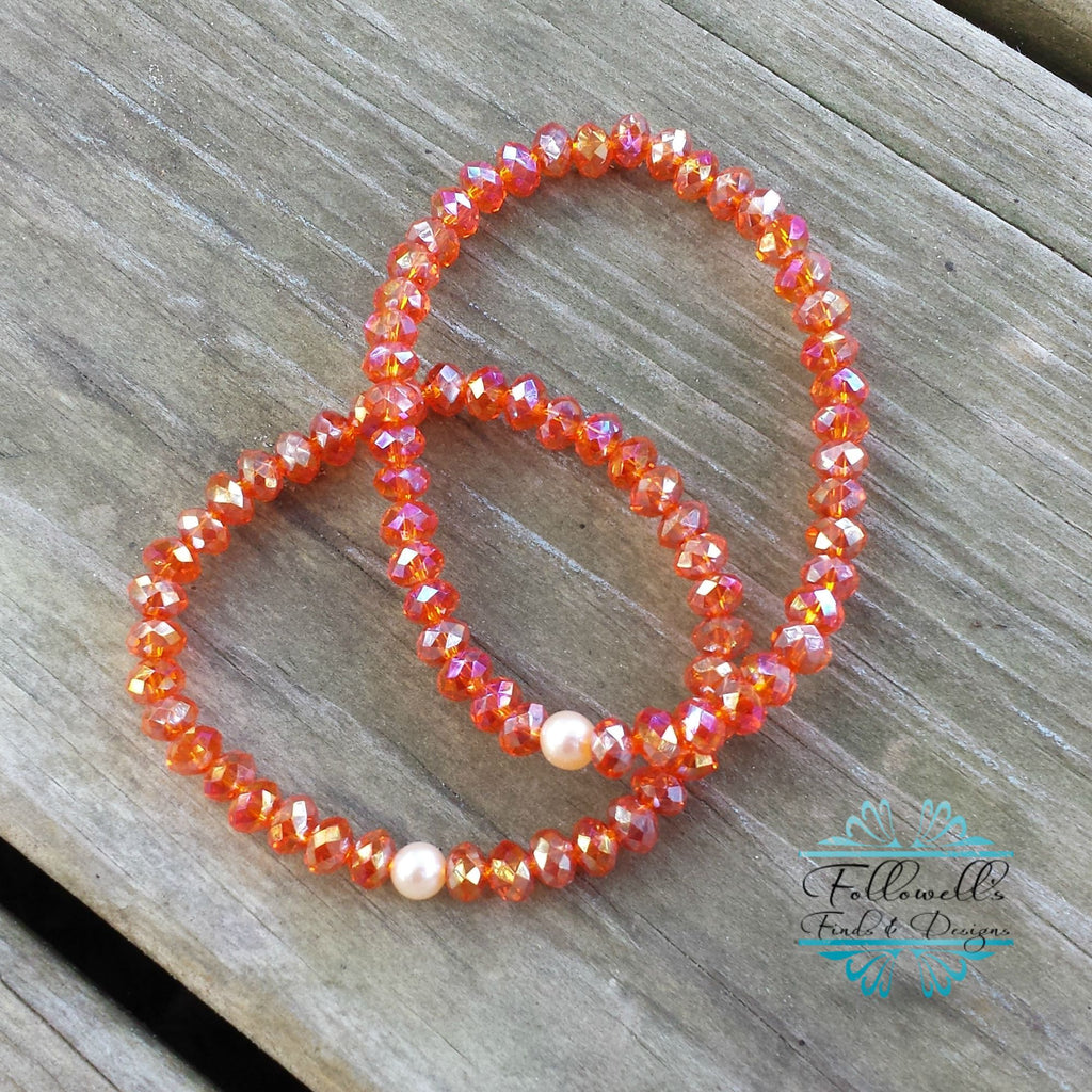 Orange Glass Bead & Peach Pearl Stretch Stack Bracelet