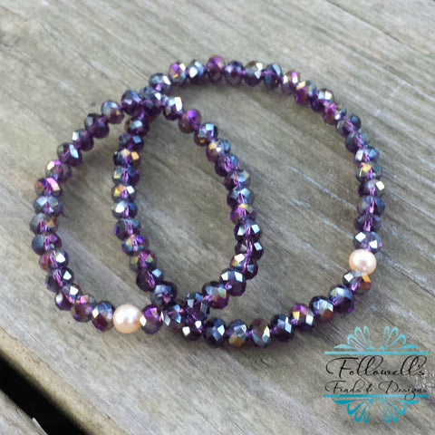 Purple Glass Bead & Peach Pearl Stretch Stack Bracelet