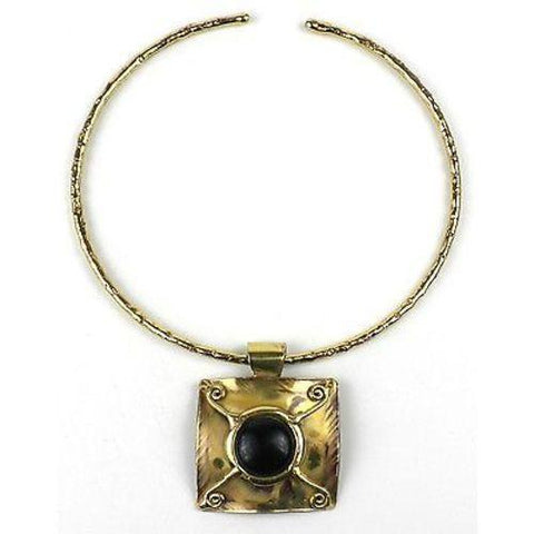 X Squared Dark Blue Tiger Eye Brass Pendant Necklace Handmade and Fair Trade