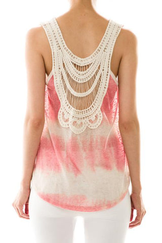 Women's Tie-Dye Crochet Back Knit Tank
