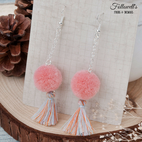 Pink Pom Pom Tassel Earrings