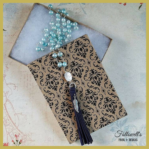 Blue Freshwater Pearl Boho Tassel Necklace
