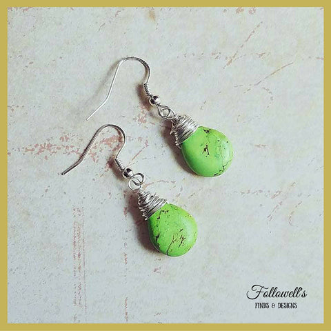 Wire Wrapped Magnesite Teardrop Earrings