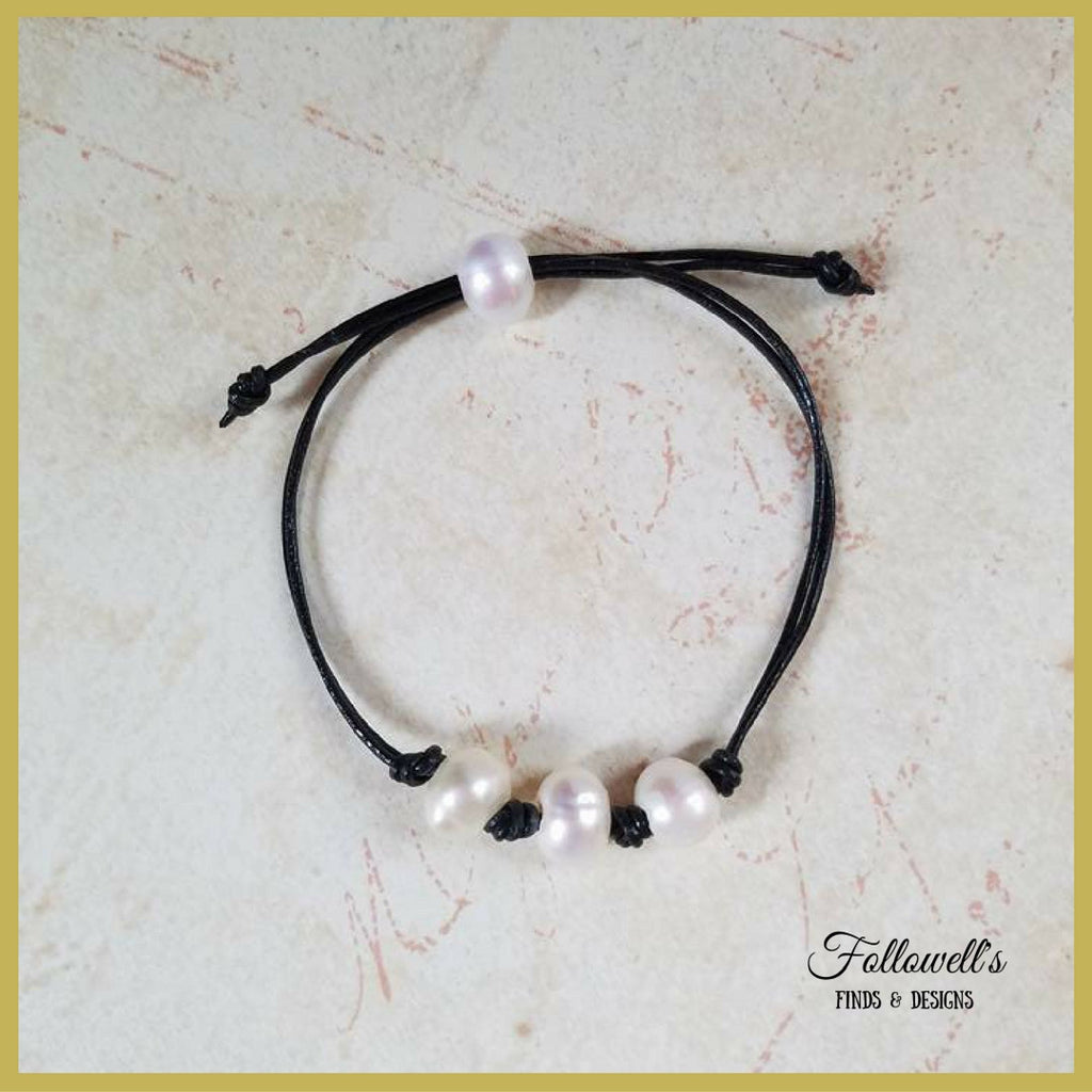 Womens Adjustable Knotted Leather and Freshwater Pearl Bracelet
