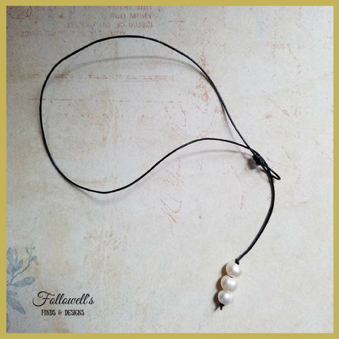 Womens Leather and Freshwater Pearl Choker Lariat