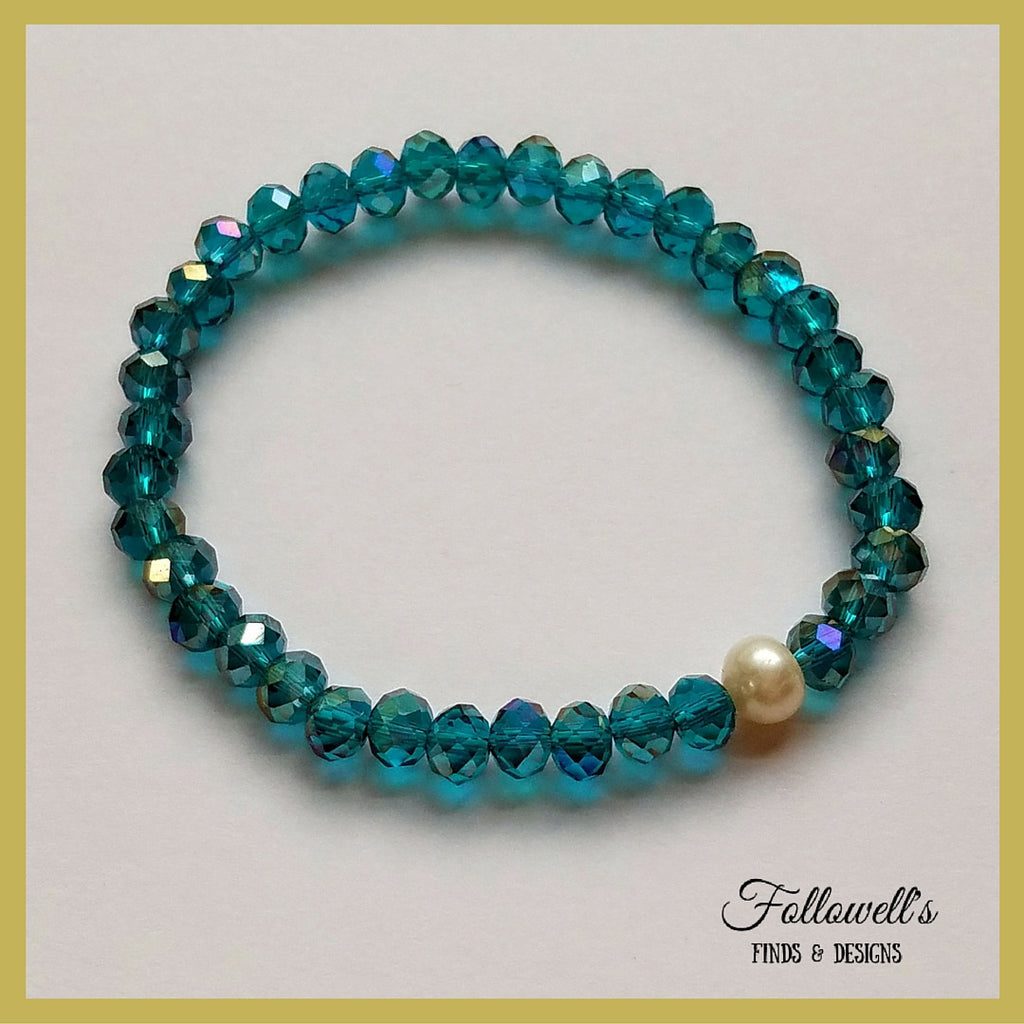 Aqua Glass Bead & Pearl Stretch Stack Bracelet