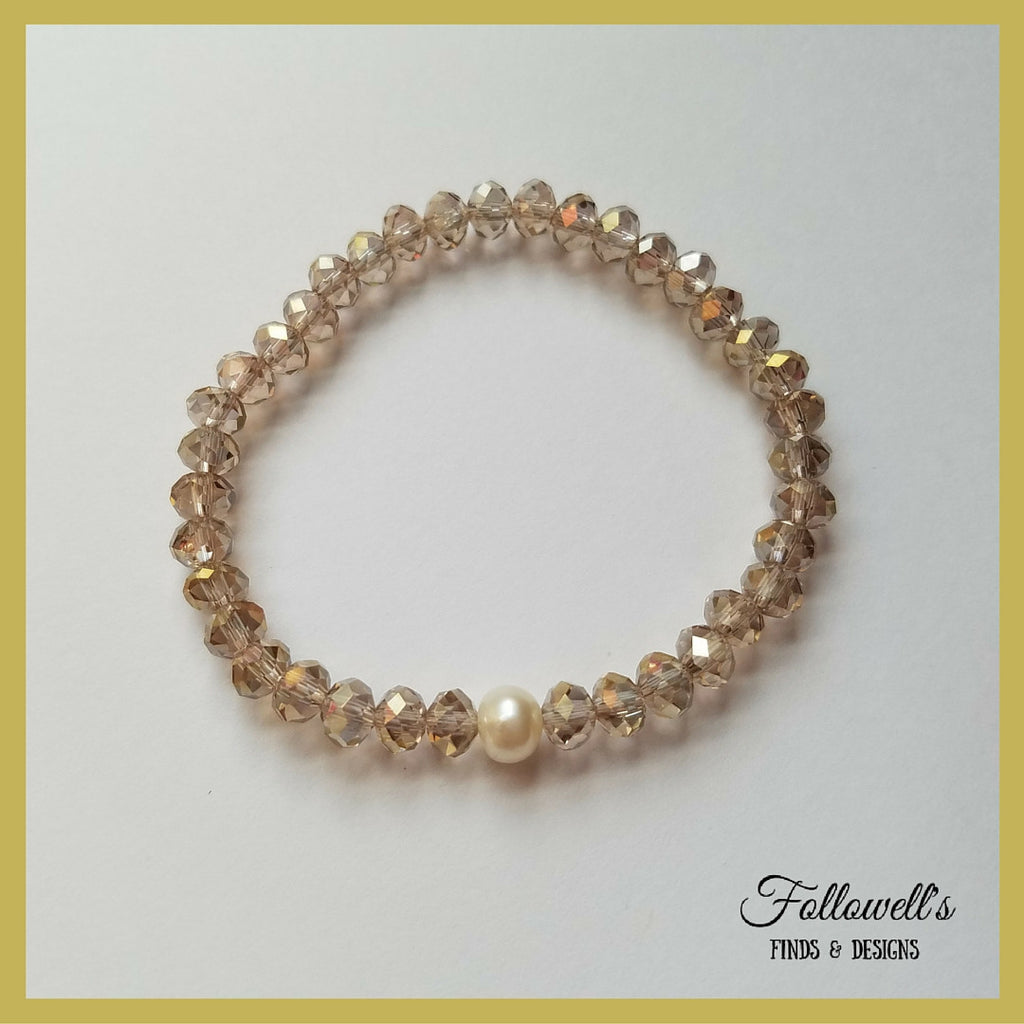 Champagne Glass Bead & Pearl Stretch Stack Bracelet