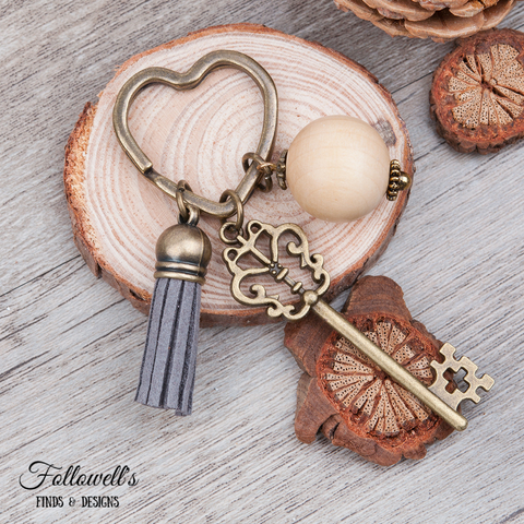 Vintage Inspired Heart Key Ring with Tassel