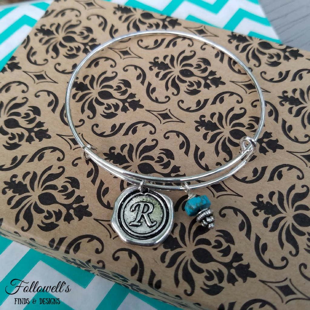 Silver Wax Seal Initial Bangle Charm Bracelet with Faux Turquoise Bead Charm
