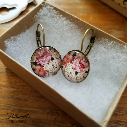 Floral Print Lever Back Earrings