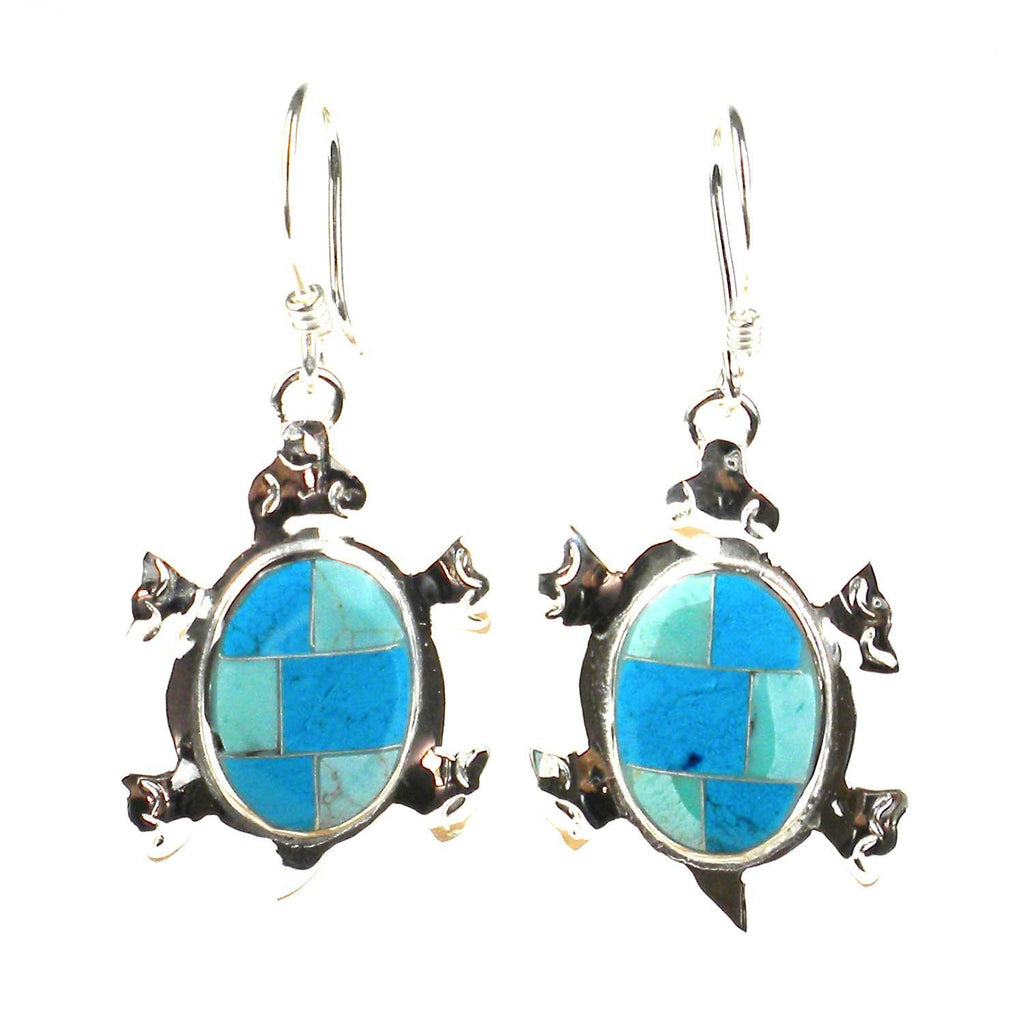 Turtle Earrings with Turquoise Design - Artisana